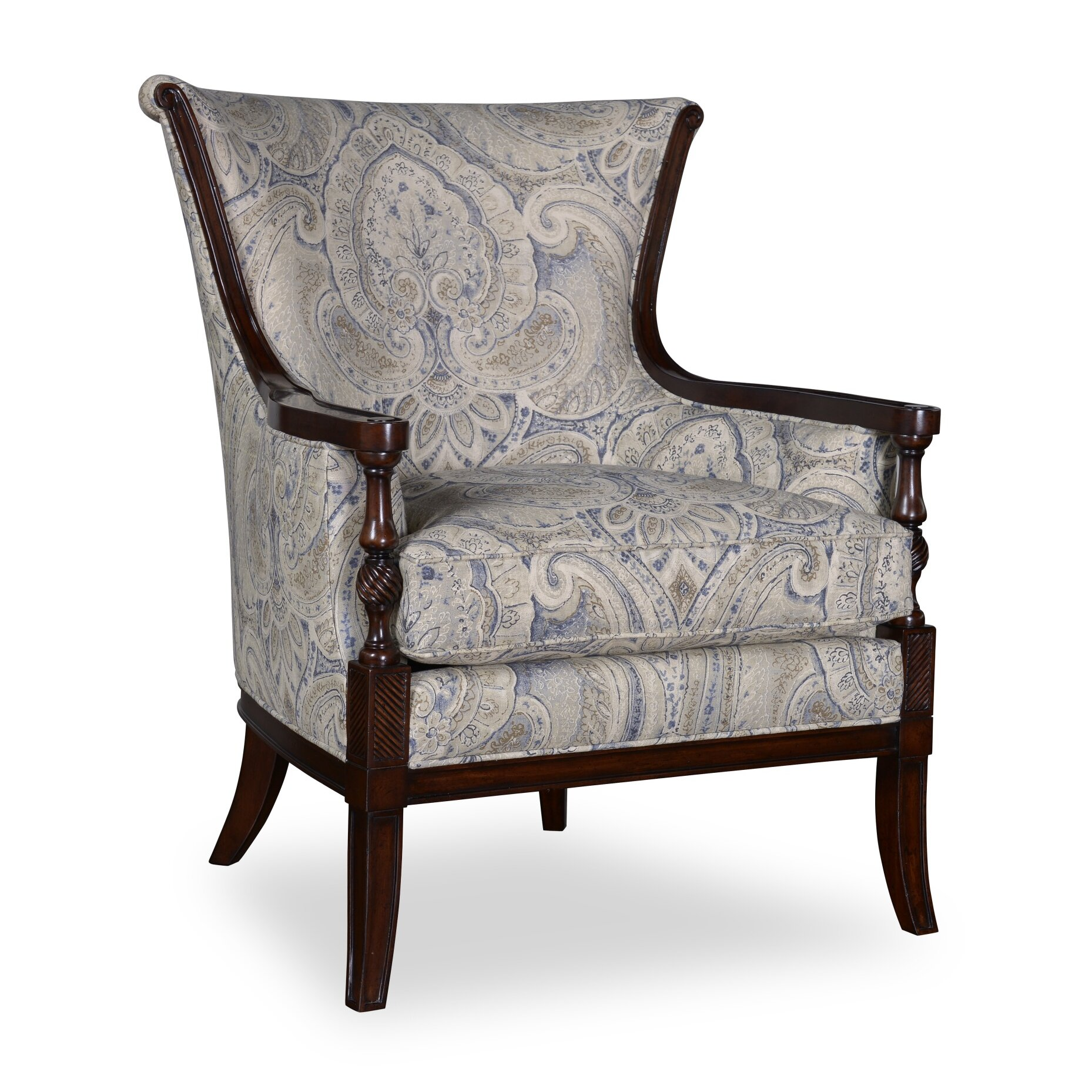 Canora Grey Marylhurst Linen Carved Wood Armchair | Wayfair