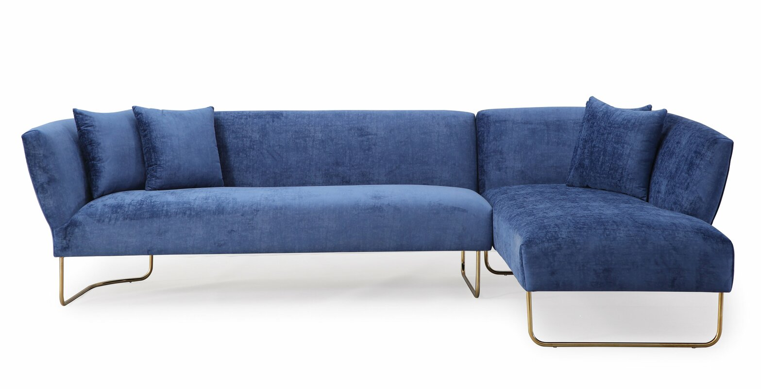 Velvet sectional sofas youll love wayfair pelle sectional parisarafo Image collections