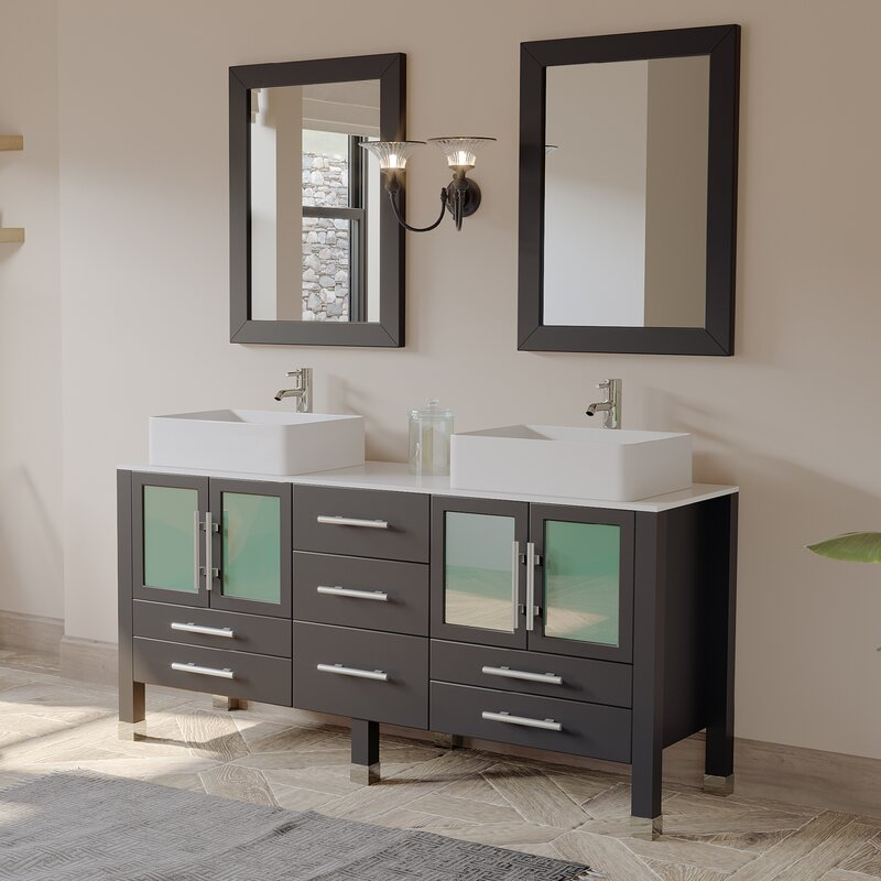 Aspen 64 Double Bathroom Vanity Set With Mirror