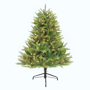 Pre-Lit Washington Valley 4.5' White/Green Spruce Artificial Christmas Tree with 300 UL Sure-lit Clear Lights with Stand