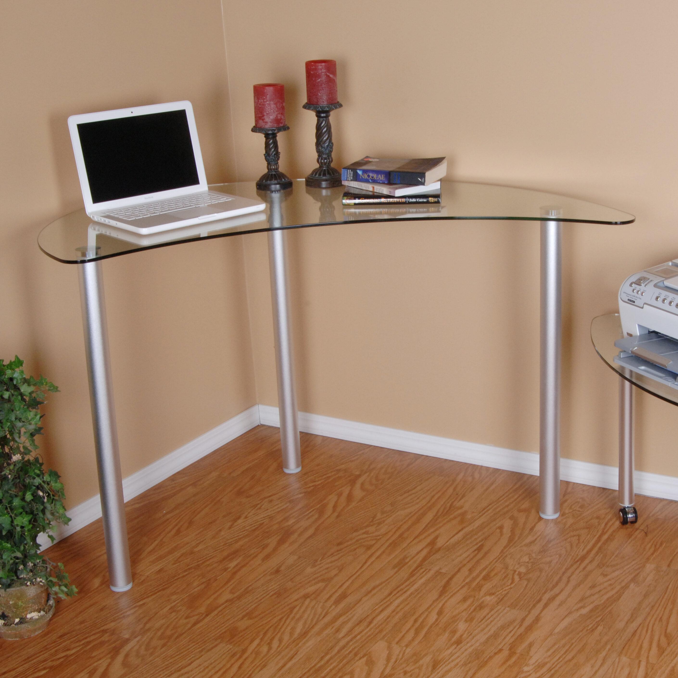 Delicieux Orren Ellis Boylan Glass Corner Writing Desk U0026 Reviews | Wayfair