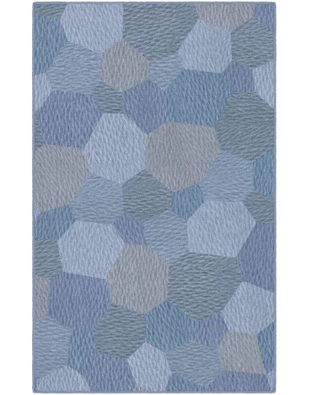 Ebern Designs Burns Blue Area Rug, Size: Rectangle 76 x 10