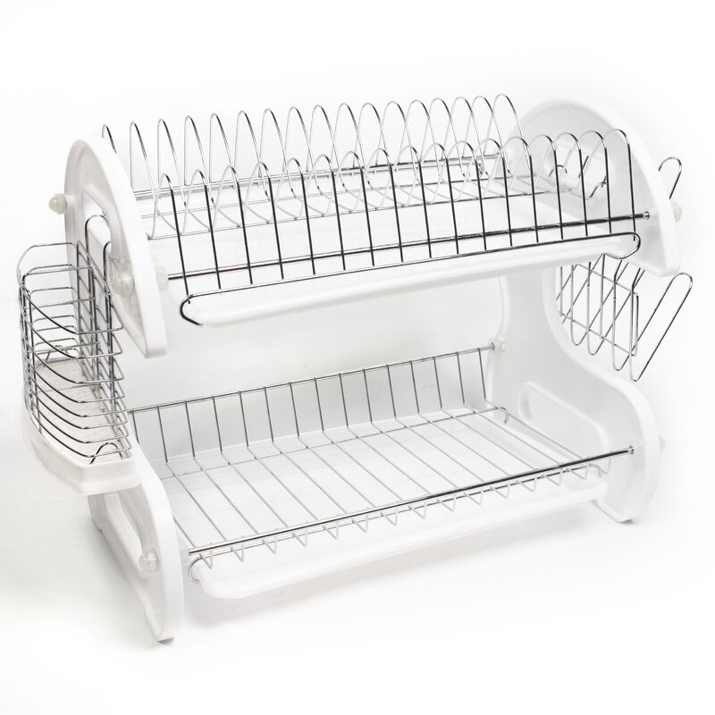 Home Basics 5 Piece 2 Tier Kitchen Sink Dish Drainer Set