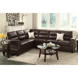 Bobkona Parrish Reversible Sectional  sc 1 st  Wayfair : leather sectional with nailhead trim - Sectionals, Sofas & Couches