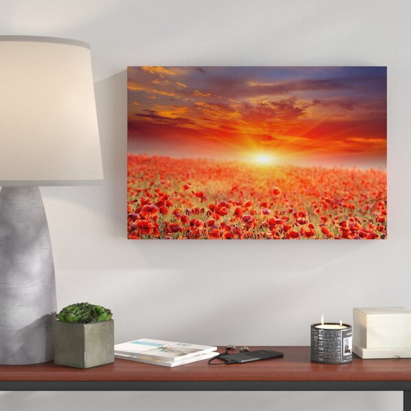 Pixxprint Poppy Field At Sunset Wall Art On Canvas
