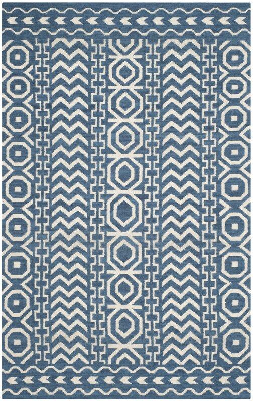 Safavieh Dhurries Hand Woven Cotton Dark Blue Ivory Area