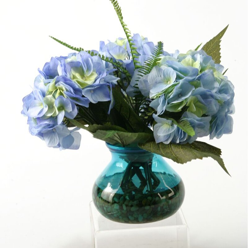 D W Silks Large Hydrangeas With Deer Fern And Queen Annes Lace