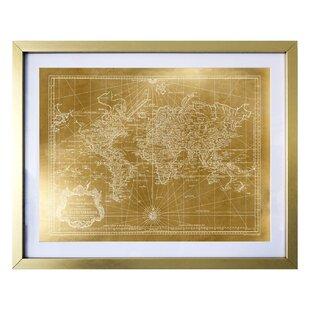 Gold foil world map wayfair world map 1778 gold framed graphic art gumiabroncs Images