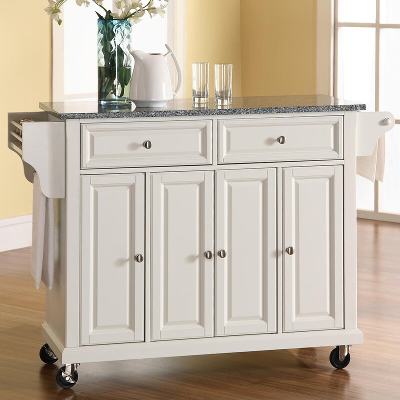 Pottstown Kitchen Cart Island With Granite Top