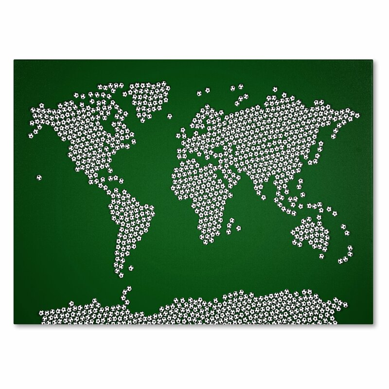 Trademark art soccer balls world map by michael tompsett framed soccer balls world map by michael tompsett framed graphic art on wrapped canvas publicscrutiny Choice Image