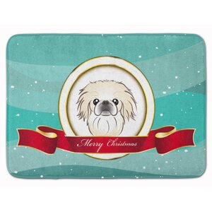 Pekingese Merry Christmas Memory Foam Bath Rug