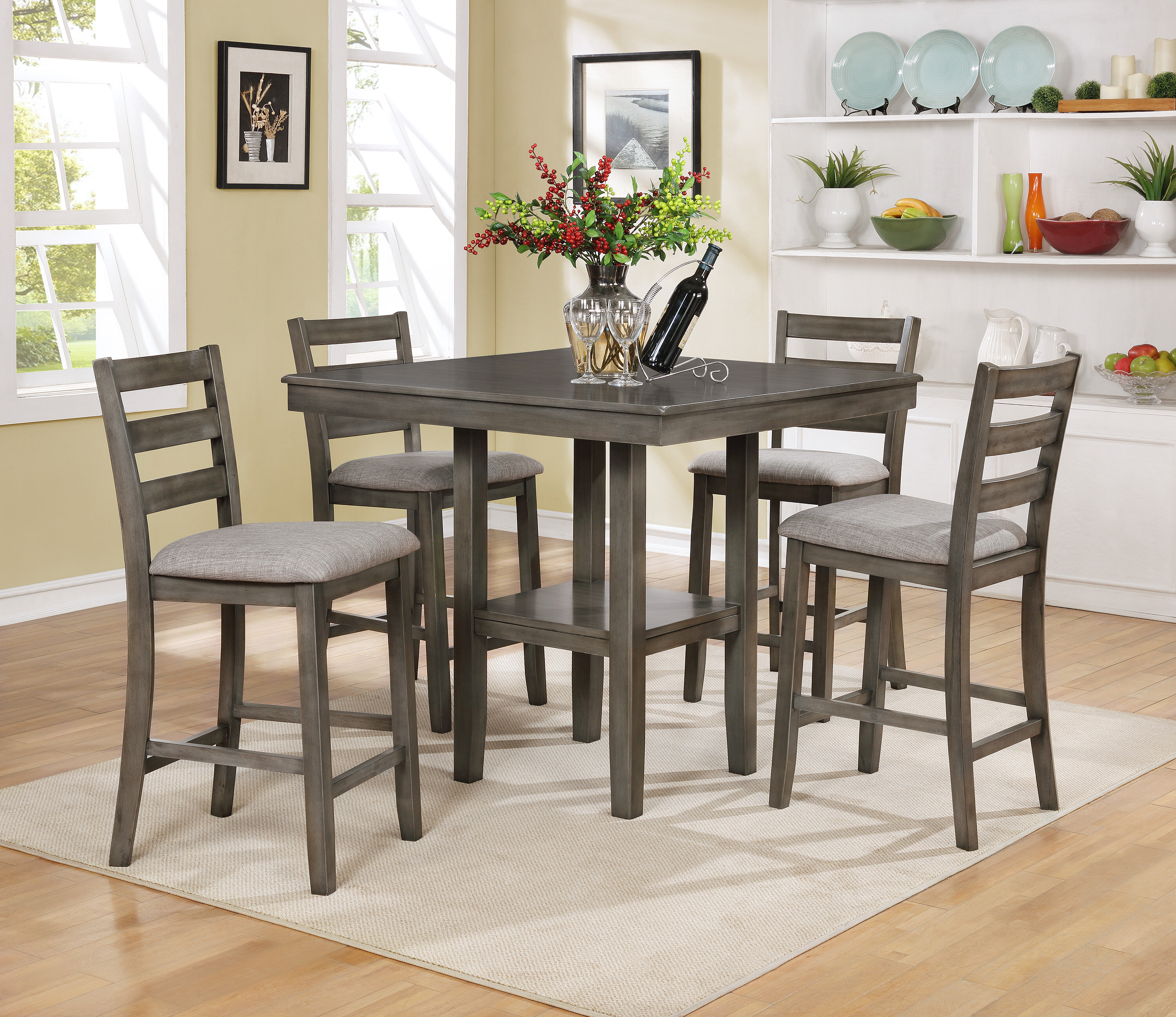 & Crown Mark Tahoe 5 Piece Counter Height Dining Set u0026 Reviews | Wayfair