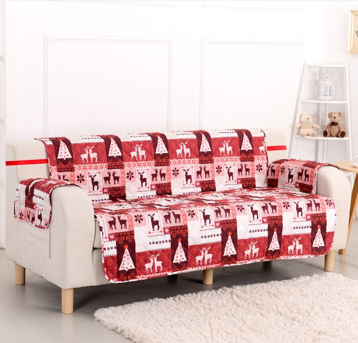 Pegasus Home Fashions Christmas Lodge Box Cushion Sofa Slipcover ...
