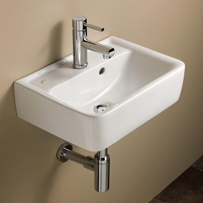 Renova Ceramic 18 Wall Mount Bathroom Sink With Overflow