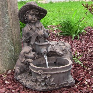 Bon Jenks Resin Solar Boy With Dog On Demand Water Fountain With LED Light