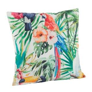 Tropical Parrot Floral Print Indoor/Outdoor Throw Pillow