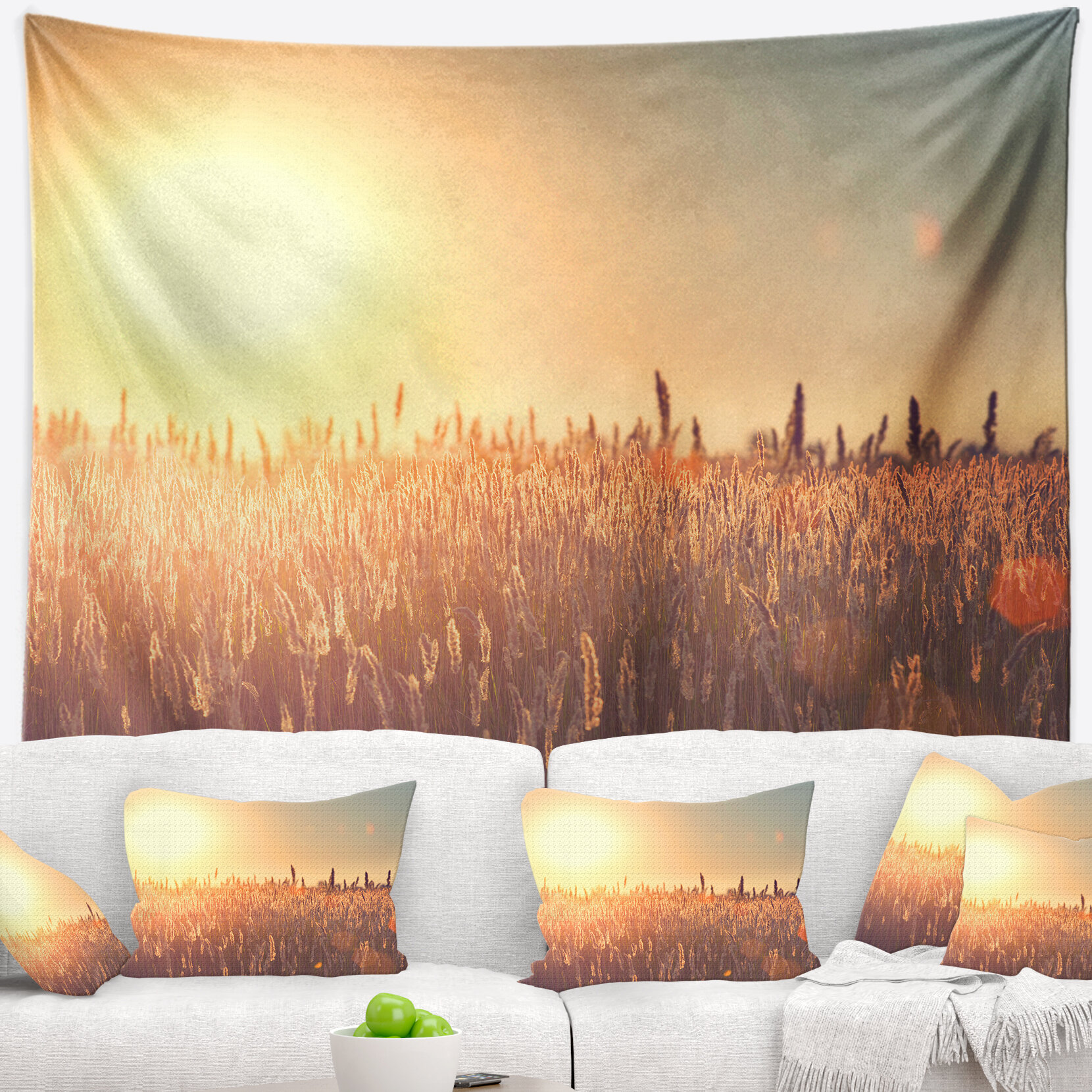 East Urban Home Landscape Rural Land under Shining Sun Tapestry and ...