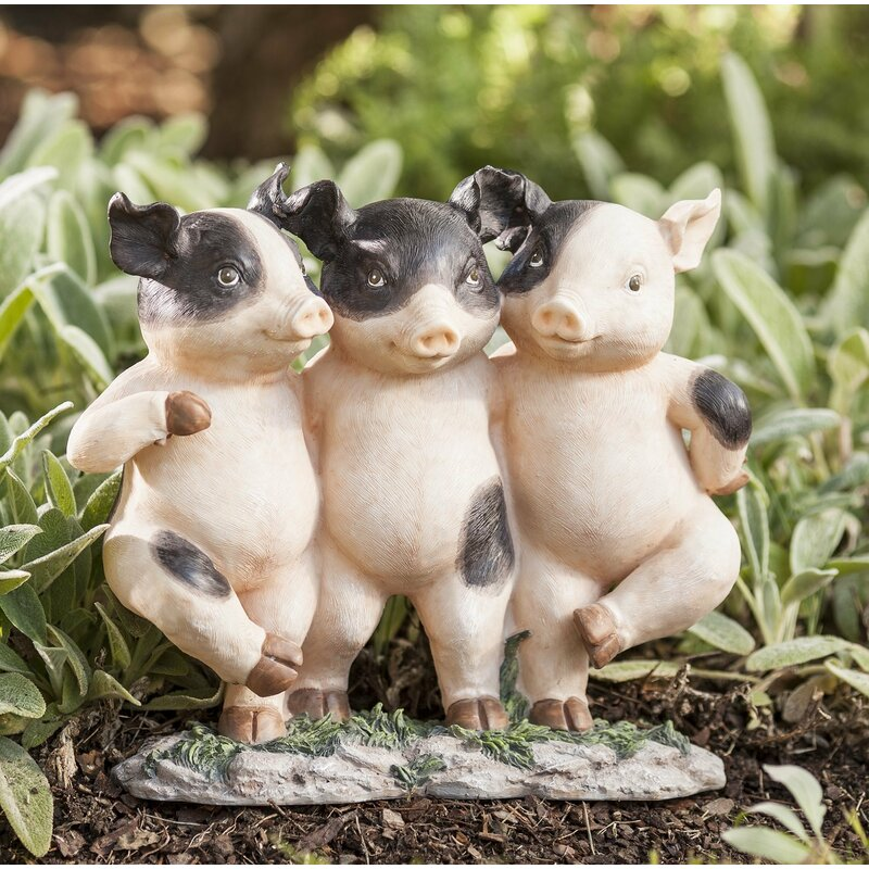 Exceptionnel Three Dancing Pigs Garden Statue