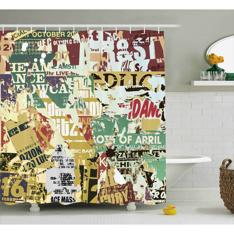 Guadalupe Old Torn Posters Collage Shower Curtain