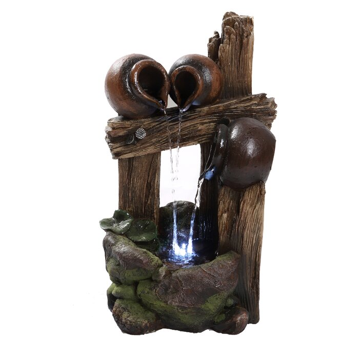 Polyresin Pouring Jugs Fountain With Led Light