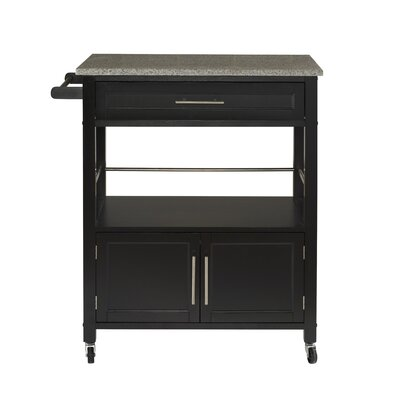 Andover Mills Snow Kitchen Island with Granite Top Base Finish: Black