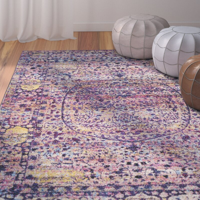 Bungalow rose walferdange floral bright pink violet area for Bright floral area rugs