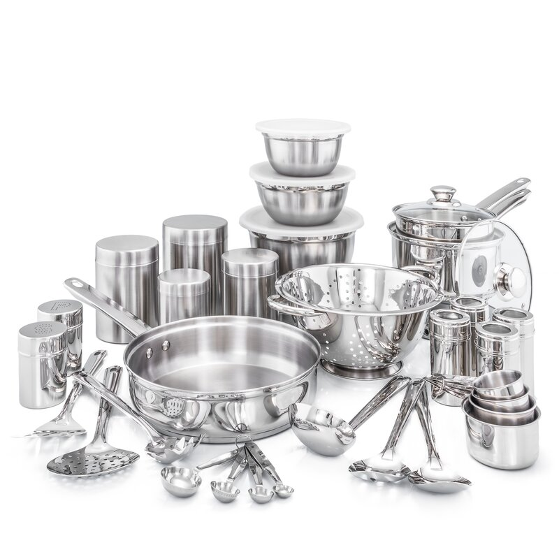 36 Piece Kitchen In A Box Stainless Steel Cookware Set