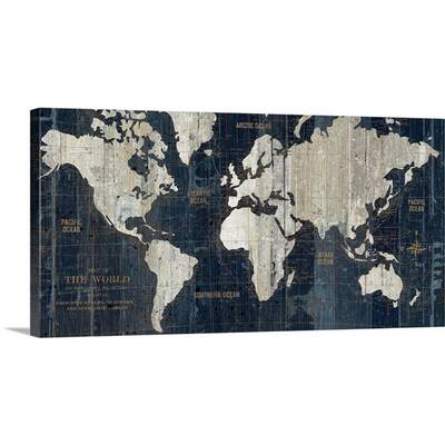 184e919bdcf Mercury Row  Old World Map Blue  Framed Graphic Art on Wrapped ...