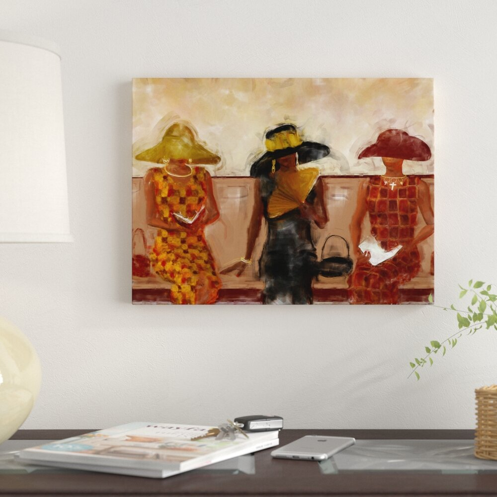 Women in church religious african american graphic art print on canvas