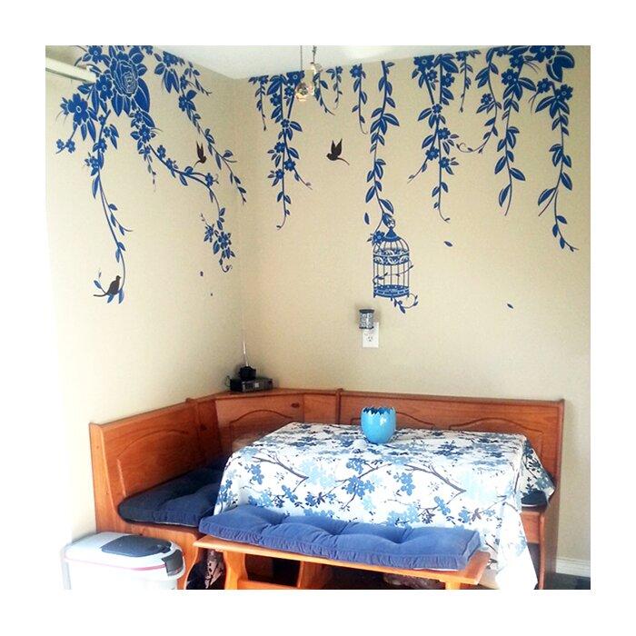 Elegant Leaves Bird Cage with Flying Birds Wall Decal  sc 1 st  Wayfair.ca & Pop Decors Elegant Leaves Bird Cage with Flying Birds Wall Decal ...