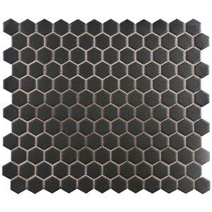 New York Hexagon 10 25 X 12 Porcelain Unglazed Mosaic Tile In Antique Black