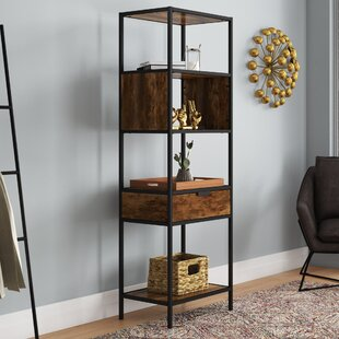 Nena Metal and Wood Display Stand with Drawer