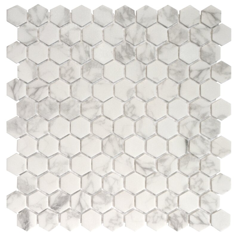 Onix 1 X Gl Mosaic Tile In Statuario Malla