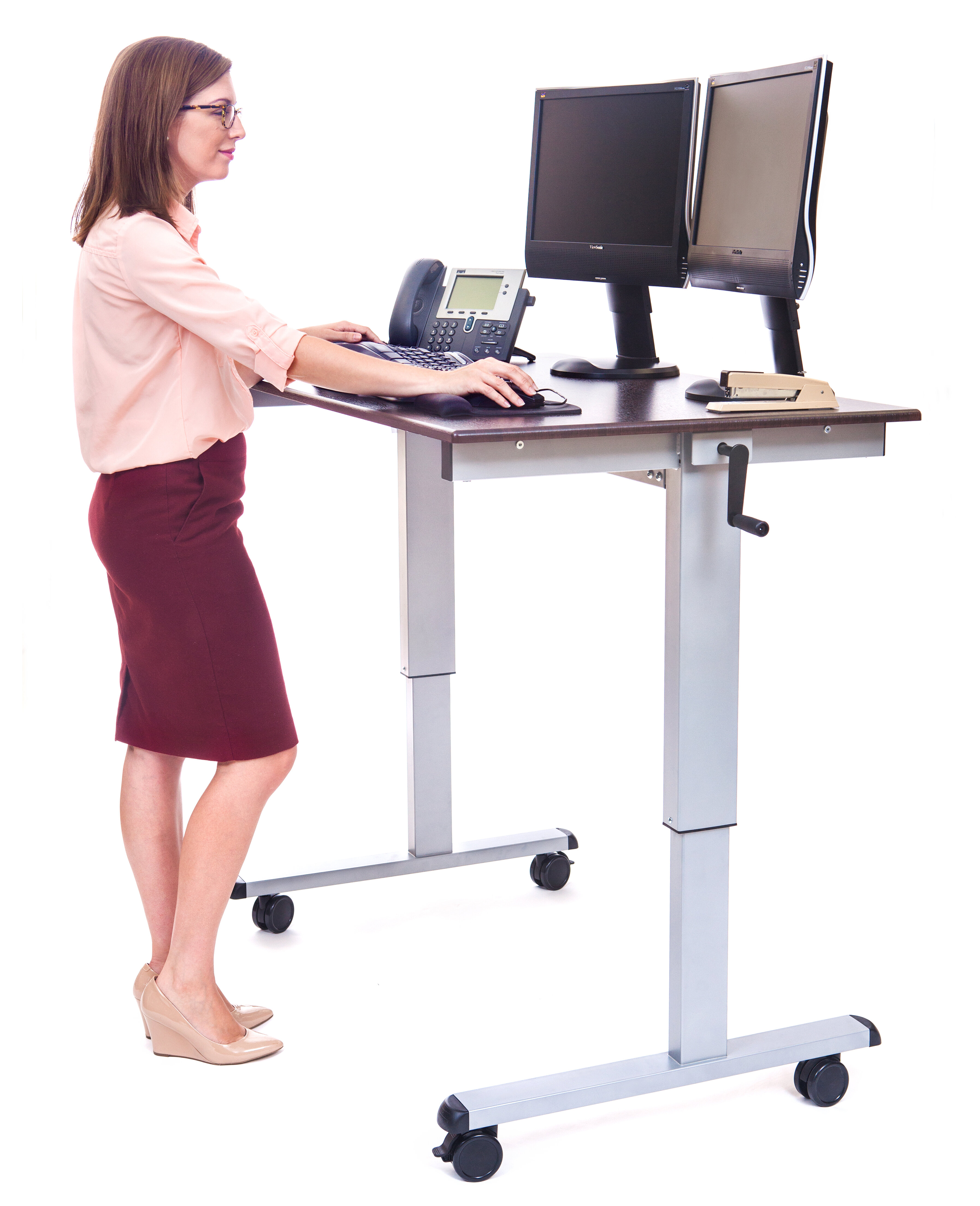 desk compact on inside wheels with stand computer rolling small