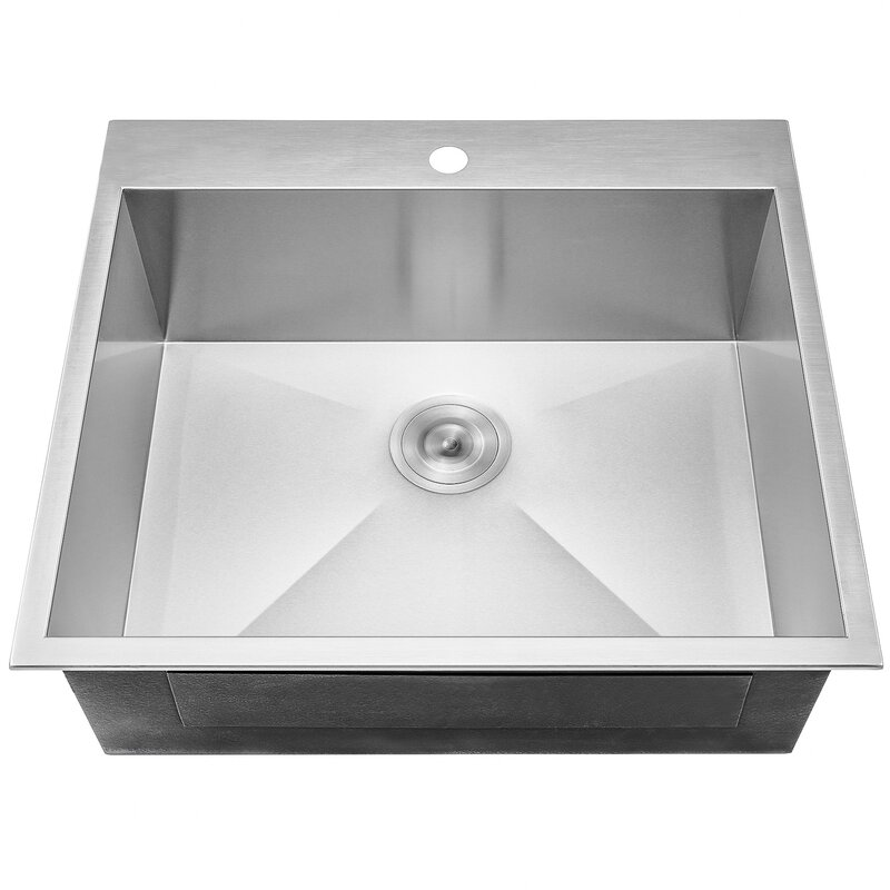 25   x 22   top mount kitchen sink with dish grid and drain strainer kit akdy 25   x 22   top mount kitchen sink with dish grid and drain      rh   wayfair com