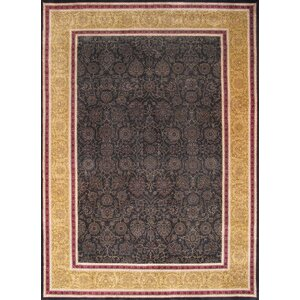 Tabriz Traditional Lamb's Wool Black Area Rug