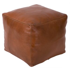 Moroccan Square Leather Ottoman by Casablanca Market