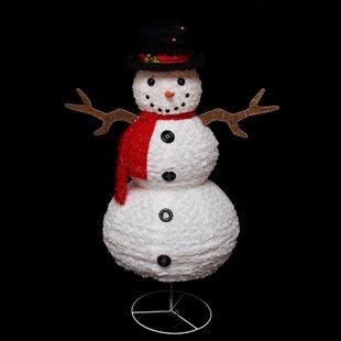 Pre-Lit Outdoor Chenille Swirl Snowman Christmas Decoration Decorations | Wayfair