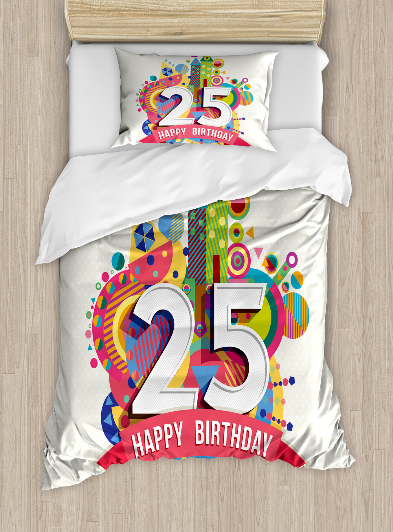 Ambesonne 25th Birthday Decorations Duvet Cover Set