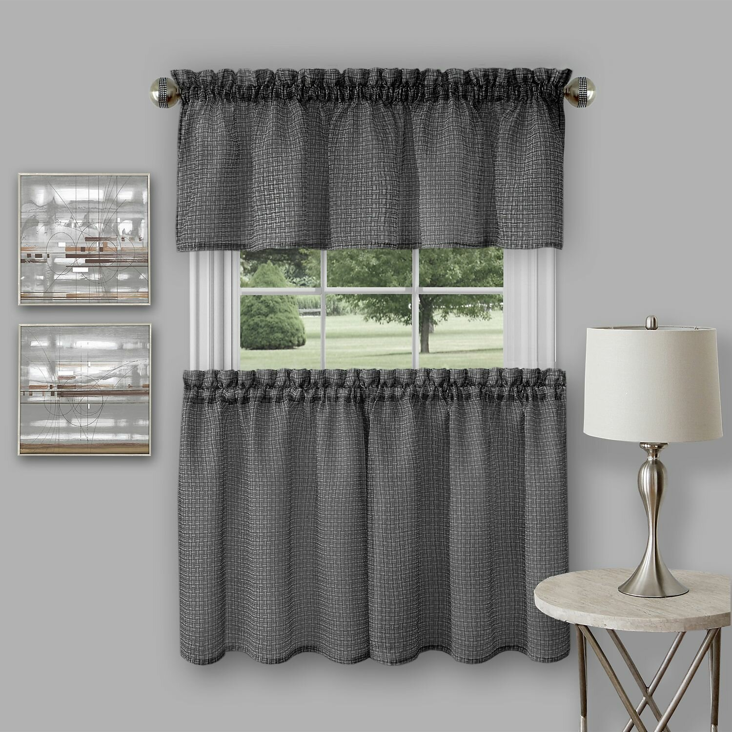"achim importing co richmond 3 piece 58"" tier curtain and kitchen"