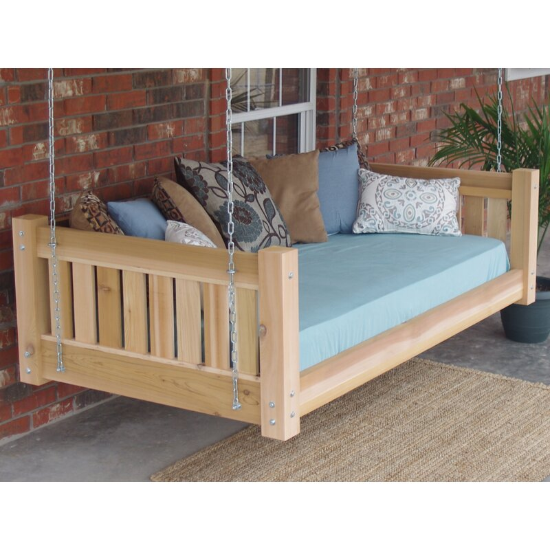 Loon Peak Teague Cedar Victorian Style Hanging Daybed Swing Wayfair