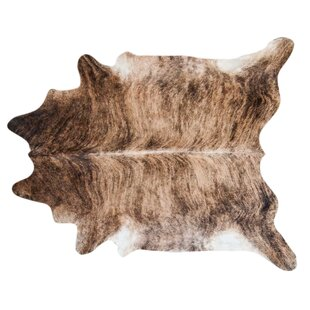 Brindle Hand Woven Cowhide Black Brown Area Rug