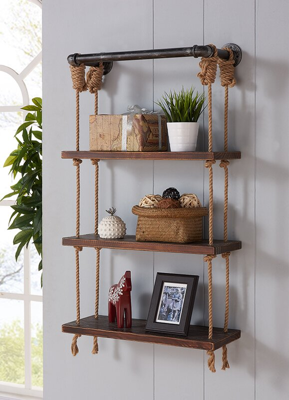 Modern Walnut Wood Floating Wall Shelf & Reviews