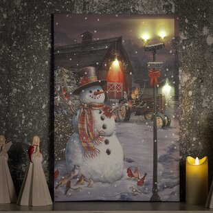 Town Snowman Print On Wrapped Canvas With LED Lights