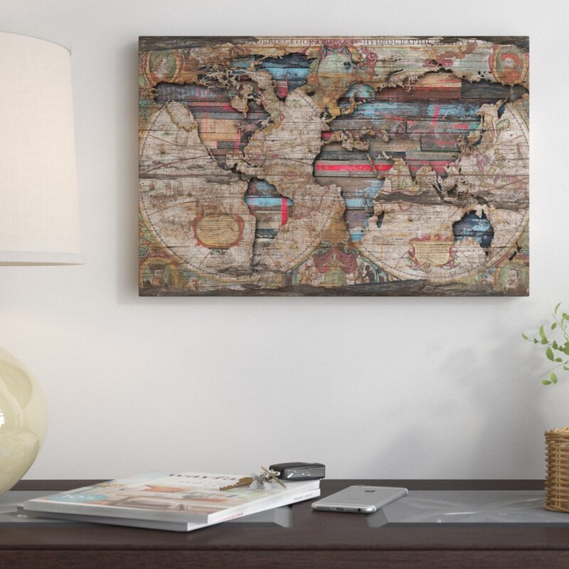 East urban home distressed world map graphic art print on canvas distressed world map graphic art print on canvas gumiabroncs Gallery
