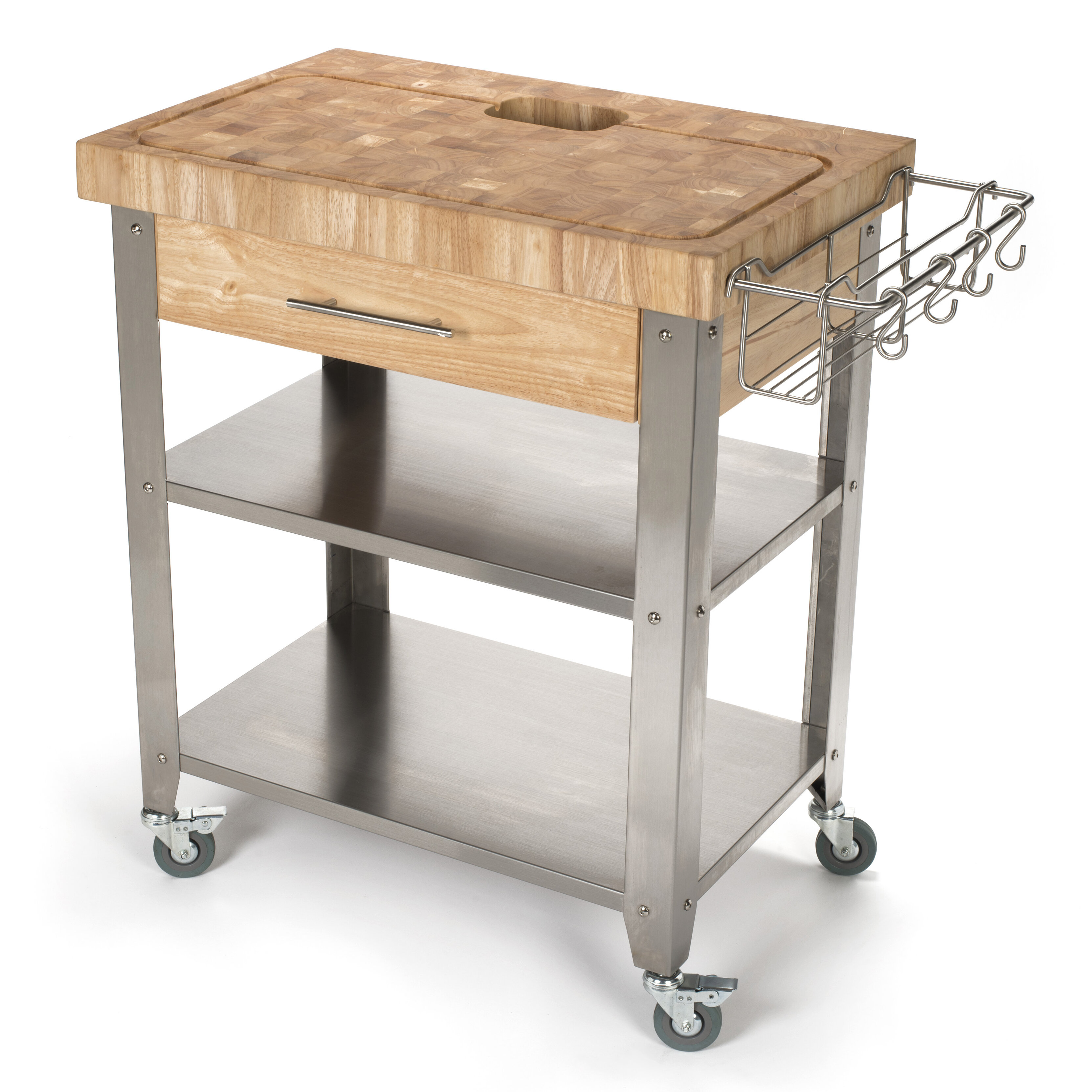 Chris & Chris Pro Stadium Kitchen Cart with Butcher Block Top ...