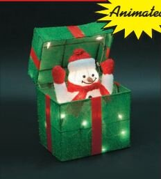 animated snowman gift box christmas decoration - Animated Christmas Outdoor Decorations Clearance