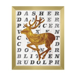 'Santa's Reindeer - Coal' Framed Textual Art