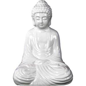 Ceramic Meditating Buddha in Dhyana Mudra Gloss White Figurine