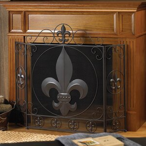 Fleur De Lis 3 Panel Metal Fireplace Screen